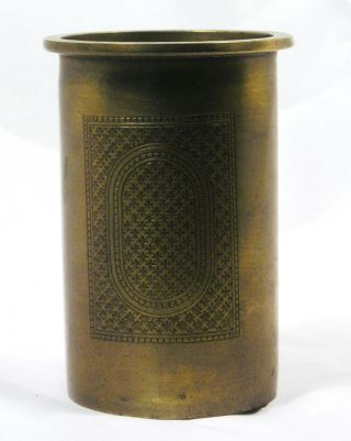 Vintage Bronze Container Or Vessel Brush Pot Or Pen Holder Q12 photo