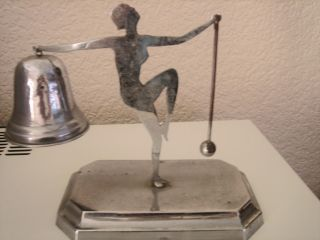 Art Deco Chrome Stylised Bathing Beauty Dinner Gong Bell Very Collectable photo