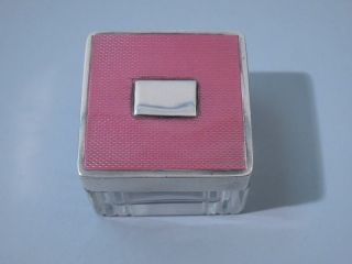 English London Sterling Silver Guilloche Enamel Glass Box Art Deco 1937 photo