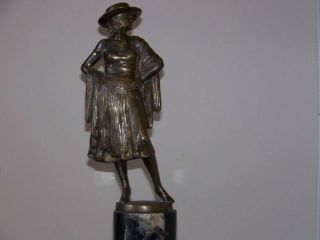 Art Deco Solid Bronze Signed Austrian Statue W/marble Base photo