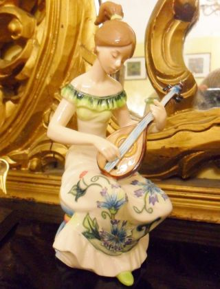 Old Tupton Ware Vintage Art Deco Lady Playing Mandolin Porcelain Musical photo