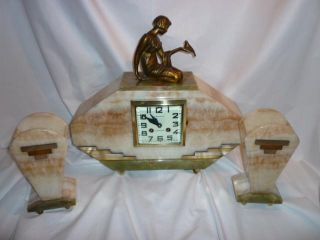 French Art Deco Lady And Bird Mantle Clock C1930 photo