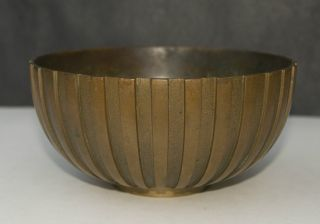 Big Deco Vintage Tinos Bronce Danish Fluted Bronze Bowl 7 In Di X 3 1/2 In High photo