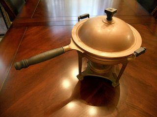 1908 Landers Frary & Clark Art Deco Antique Copper Brass Zinc Chafing Dish photo