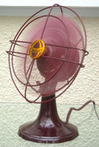 1950 ' S French Art Deco Red Calor Ventilateur Electronic Bakelite Fan Working photo