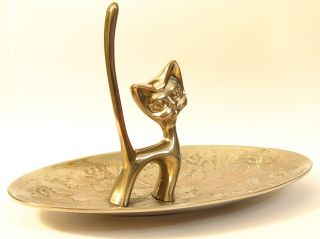Art Deco Seba Walter Bosse Inspired Silver Plated Cat On Large Oval Pin Plate photo