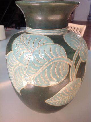 Large Art Deco Vase; Incised Leaf Pattern; Two Tone Green; Signed photo