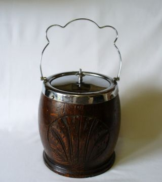 Art Deco Period Oak & Silver Plate Biscuit Barrel 1931 photo