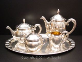 Art Deco Luxury Tea & Coffee Service Wilhelm Wolff Silber Set Pforzheim / German photo