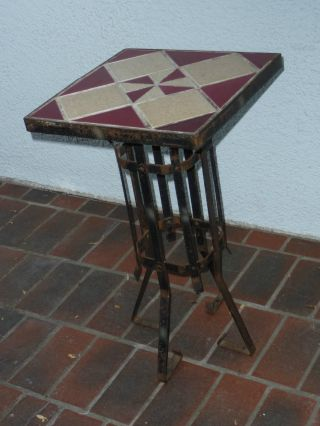 Art Deco Red & Cream Pinwheel Pattern Tile Top Wrought Iron Drink Table 1930s photo