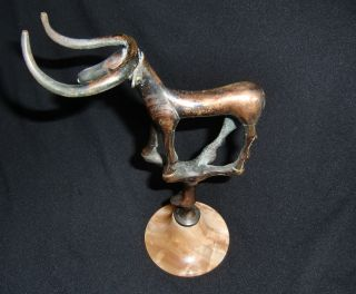 Art Deco Bronze Moose On Onyx/marble Base - Dated On Base Mk 1931 Oslo photo