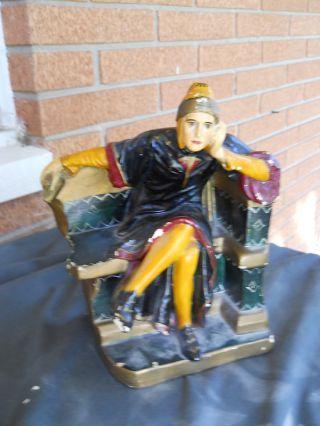 Vtg Art Deco Robed Man Figurine Statue Chalkware Male Poet Dante photo