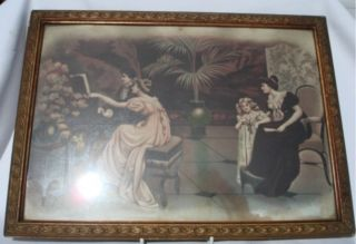 Pair Gorgeous Art Deco Gilt Framed Prints Burnhill Roe photo