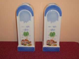 Pair Of Ceramic Art Deco Period Stylish Tall Vases Each 12 Inch High photo
