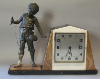 Fabulous French Art Deco Marble & Sculpture Clock Of Boy Fishing C.  1920s photo