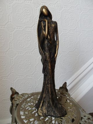 Lovely Elegant Lady Antique Aged Gold Statue Figuer Sculpture photo