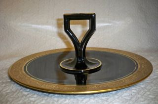 Art Deco Cake Serving Plate W/heavy Gold On Black Glass 10