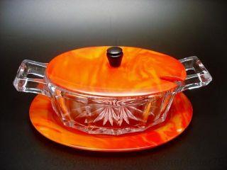 Rare Vintage Art Deco Bakelite Butter Dish Jam Jar Dessert Pressed Glass Catalin photo