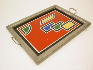 Top Vintage Geometrical Reverse Paint Art Deco Vanity Cocktail Serving Jazz Tray photo