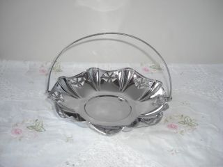 Vintage Chrome Plated Swing Handled Cake Plate Scottish Thistles Tableware photo