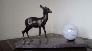 All Art Deco Desk Lamp (1930) Modelled As A Deer With An Opal Globe photo