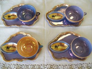 Art Deco 1920 Blue & Gold W/ Camel Lustre Dessert Set photo