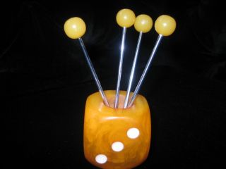 Art Deco Cocktail Picks Sticks Dice Amber Bakelite photo