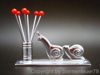 Top Vintage Chrome Art Deco Snails Cherry Red Bakelite Cocktail Party Picks Bar photo