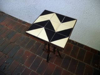 1930s Art Deco Black & White Zig - Zag Pattern Tile Top Wrought Iron Drink Table photo