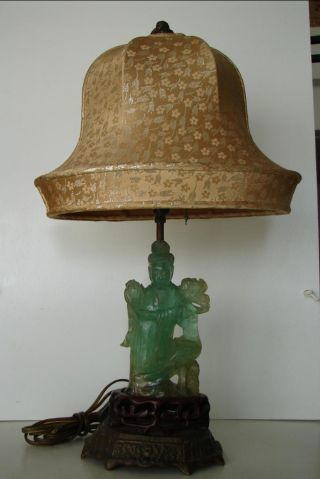 1920 ' S Boudoir Lamp W/ Antique Chinese Jade Carving Of Kwan - Yin & Bird photo