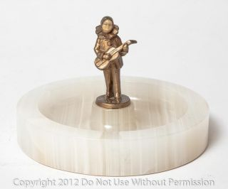Art Deco Onyx Bonbon Dish With Gilt Metal Figure Of Musician With Lute C.  1930 photo