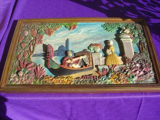 Vtg Courting Couple Art Deco Italian Chalkware Plaque 2 photo