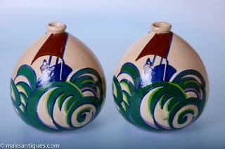 A Wonderful Pair Of French Art Deco Vases By Henri Delcourt Circa 1925/30 photo