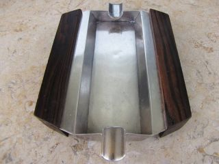 Art Deco Czechoslovakia Rosewood Silver Ash Tray 215gr Hand Crafted.  Smithery. photo