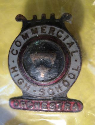 Vintage Commercial High School Old Lapel Pin Orchestra Antique Jewelry Brooch photo