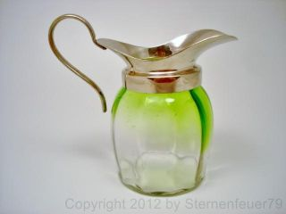 Top Vintage Art Deco Glass Milk Jug Or Pitcher Green Tinted photo