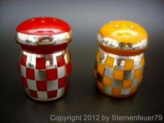 Top Vintage Art Deco Bakelite Salt & Pepper Shaker Set Catalin Silver Cherry photo