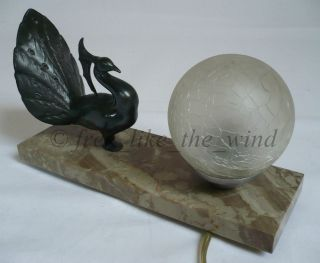 French Art Deco Tablelamp Peacock Sculpture On Marble Bayonet Lamp Frozen Light photo