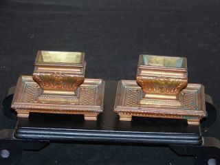 Antique C18/19thc Neoclassical Solid Bronze Matching Pair Of Inkwells - Mrkd - Hp photo