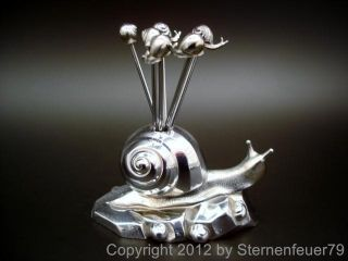 Signed Vintage Chrome Art Deco Snails Cocktail Party Picks Bar Sticks Modernist photo