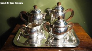 French Art Deco 5pce Silverplated Tea/coffee Set C1930 ' S photo