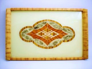 Large Vintage Art Deco Geometrical Hand - Painted Reverse Paint Vanity Jazz Tray photo