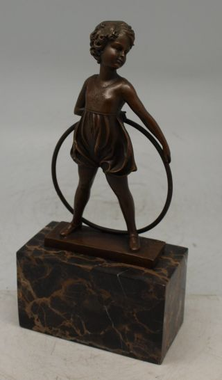 Art Deco Bronze By Ferdinand Preiss ' Hoop Girl ' - Solid Marble Base photo