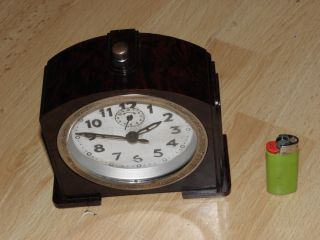 Art Deco Old Antique Clock Alarm Mechanics Vintage Bakelite Design Bauhaus photo