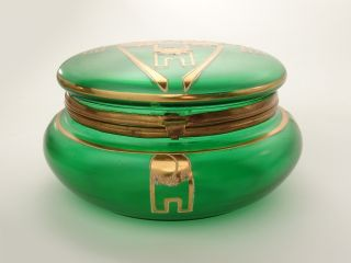 Excellent Green Glass Casket,  Art Deco Ca.  1910,  Powder Box/case/dresser Jar/box photo