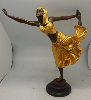 Art Deco Bronze Lady ' Egyptian Dancer ' By Colinet - Gilt Decoration - 40cm photo