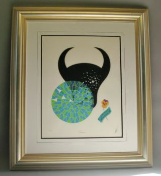 Signed Erte Lithograph Taurus From The Zodiac Suite 263/350 Mint photo