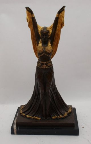 Stunning Art Deco Bronze Lady On Marble Base - ' Salome ' Signed Dh Chiparus 54cm photo