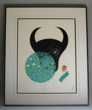 Signed Erte Lithograph Taurus From The Zodiac Suite 115/350 Mint photo