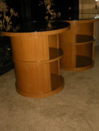 Art Deco Sycamore Wood Side Cabinets End Tables Two Tier Glass Tops Round photo